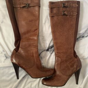 Cole Haan brown knee high leather boots pump 8